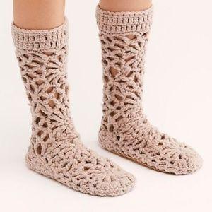 Free People crochet blush slipper socks